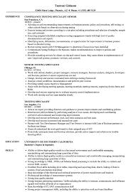Testing Specialist Resume Samples Velvet Jobs