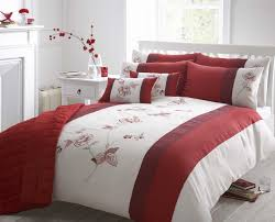 beautiful red colour embroidered faux silk duvet cover luxury bedding categories of duvets cover