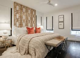 converted room divider as a headboard