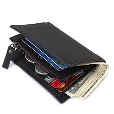 details about luxury leather men s bifold purse card pocket zipper money clip short wallet