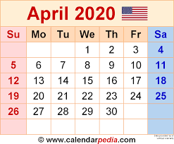 April 2020 Template April 2020 Calendars For Word Excel Pdf