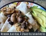 black bean  spinach and mushroom burritos