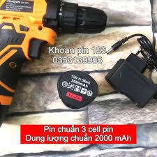 Máy khoan pin, máy bắt vít 12v pin chuẩn 2A lõi đồng nguyên chất KHAISON bộ  2 pin
