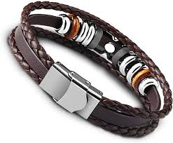 <b>Mens Leather Rope</b> Wrist Bracelet 8.3 Inch UHIBROS Stainless ...