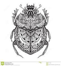 черно белой нарисованный рукой скарабей Zentangle стилизованный