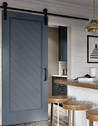barn doors. craftsman style barn door kit. herringbone 3 blue vertical doors o