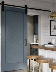 craftsman style barn door kit herringbone 3 blue vertical