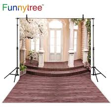 Tree Pillar Design Us 9 58 31 Off Funnytree Backdrop For Photographic Studio Door Doorway Palace Wood Floor Pillar Flower Tree Background Photobooth Photocall In