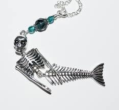 skeleton mermaid necklace big mermaid pendant articulated skeleton necklace statement necklace skeleton jewelry creepy mermaid jewelry