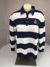 details about vtg lauren ralph lauren blue white striped polo rugby crest knit sweater xl lrl