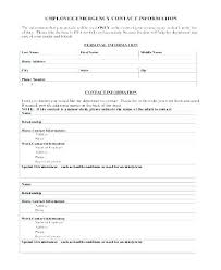 Employment Emergency Contact Form Emergency Contact Number Template Employee Form Australia