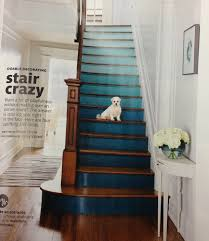 Ombré Painted Stair Risers And Natural Wood Stepsbanister - Painted basement stairs