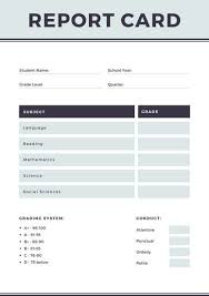 Product Line Card Template Gray Simple Homeschool Report Card Templates By Canva