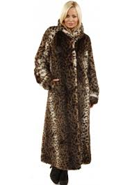 leopard print long soft faux fur full length coat