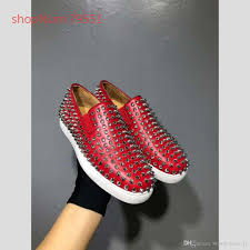 Glitter Bottom Shoes Designer 2019 Man Shoe New Luxury Black Gold Glitter Sequins Red Bottom Shoes Designer High Top Spikes Toe Genuine Leather Flats Party Wedding Sneakers From