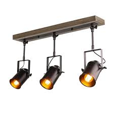 Lnc 2 Ft 3 Light Wood Spotlights Black Track Lighting Kit