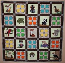 Woodland or forest animal applique PDF quilt pattern; bear's paw ... & Woodland or forest animal applique PDF quilt pattern; bear's paw block;  fox, raccoon, or squirrel quilt; baby or child's quilt pattern Adamdwight.com