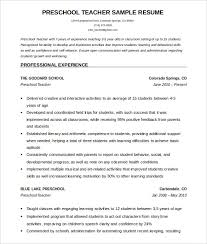 Teacher Resume Template Free Gorgeous PreSchool Teacher Resume Template Free Word Download Gallery For
