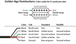 golden age humbucker color codes stewmac com golden age color code system for 4 conductor pickups the schematic below shows the coils and their respective colors