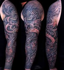 Black Ink Kraken Tattoo On Full Sleeve By Dicecaspian17