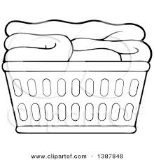laundry basket clipart. Clipart Of A Cartoon Black And White Lineart Laundry Basket With Folded Items - Royalty Free Vector Illustration By Visekart R
