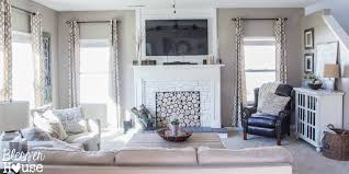 living room with diy faux fireplace blesser house featured on remodelaholic