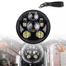 Đèn Pha Xe Máy 12V Đèn LED Lái Xe Tròn Đèn Pha 2 Chế Độ Chiếu
