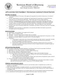 Certified Pharmacy Technician Resume Application Letter For