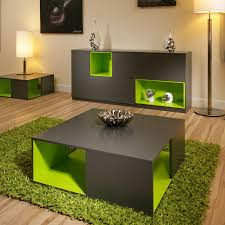 image of lime green area rug and furniture