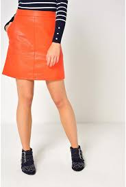 more views lisa faux leather skirt in orange