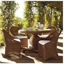 wicker kitchen table and chairs pottery barn palmetto all weather wicker round pedestal dining table