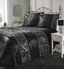 luxury shimmer black duvet cover set