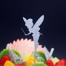 Uk 1 Fairy Cake Topper On Stick Silver Tinkerbell Party Birthday
