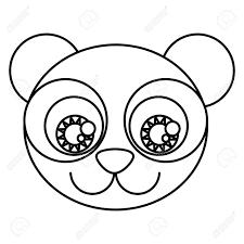 表情豊かな目と漫画かわいい顔パンダのクマをシルエット ベクトル イラスト
