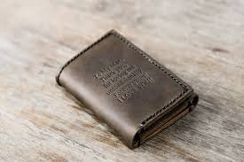 personalized leather trifold wallet with e