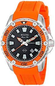 amazon com bulova men s 98b207 stainless steel automatic watch bulova men s 98b207 stainless steel automatic watch orange rubber band