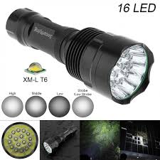 Securitying Lights Us 23 92 36 Off Securitying Super Bright 16x Xm L T6 Led Waterproof Flashlight Torch With 5 Modes Light Support 18650 Rechargeable Battery In Led