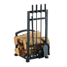 pleasant hearth harper 4 piece log holder and fireplace tool set