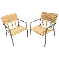 Organic Modern Furniture A Pair Of Rattanby Adrien Gardere Bamboo And Stainless Steel Club