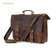 yupinxuan vintage cow leather briefcases for men luxury genuine leather work bags big real brief case hombre bloso chile purses designer handbags from
