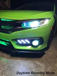 Honda Civic Light Green For 2016 2017 Honda Civic Mustang Style White Led Drl Fog