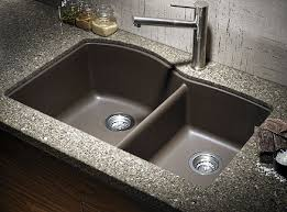 a beautiful undermount composite double bowl granite kitchen sink in combination with granite countertops