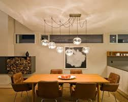 pendant lighting over dining table. Contemporary Dining Room With Round Multiple Glass Pendant Lighting Over Table Mid Century Chairs A