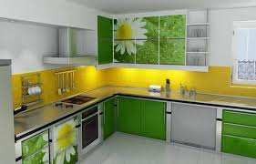 yellow kitchen color ideas. Green And Yellow Kitchen Ideas With Flower Pattern Wall Color