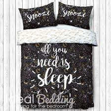 sleep slogan black white and gold duvet quilt bedding cover and pillowcase bedding set