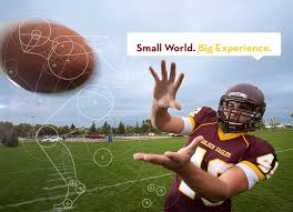 office of admissions university of minnesota crookston umc football player catching at football tag line small world big experience