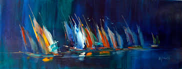 abstract sailing boats original oil painting canvas 16 x48 frame art