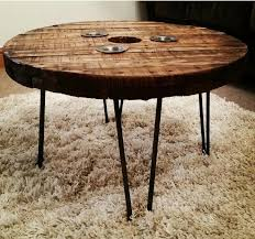 Industrial Cable Drum Reel Round Wooden Coffee Table Vintage Retro hairpin  legs | eBay