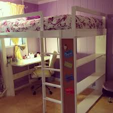 sweet purple and white kids girls room design with corner study space underneath wooden white loft bed and beige marble floor design also simple window