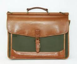 ll bean signature vintage leather travel carry on laptop briefcase messenger bag